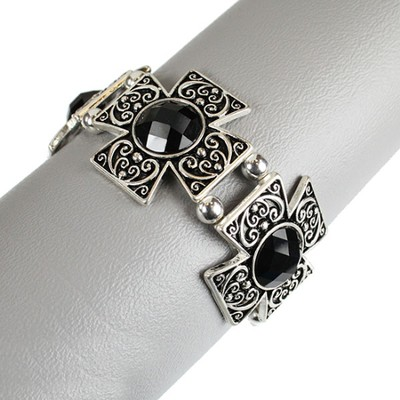 Filigree Square Cross Bracelet, Black and Silver  -