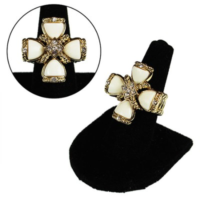 Square White Cross Stretch Ring  -