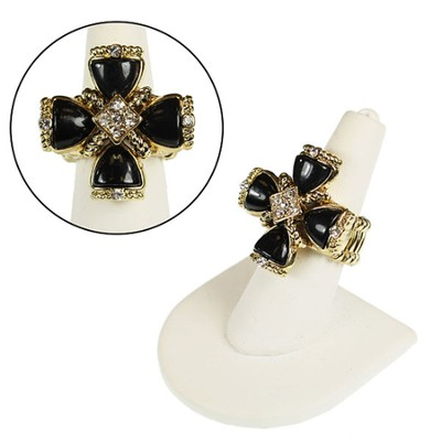 Square Cross Stretch Ring, Black  -