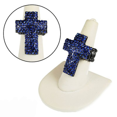 Pave Crystal Cross Stretch Ring, Blue  -