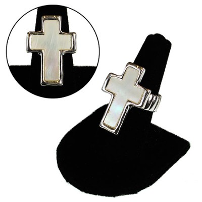 Mother of Pearl Cross Stretch Ring  -