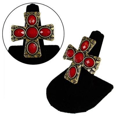 Stone Textured Cross Stretch Ring, Red  -