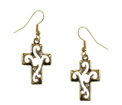 Antiqued Gold Open Cross Earrings  -