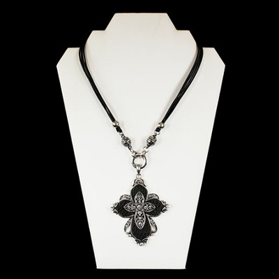 Cross Necklace with Black Cord  -