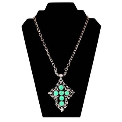 Jade Bead Cross Necklace  -
