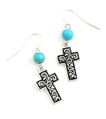 Textured Cross and Jade Bead Earring  -