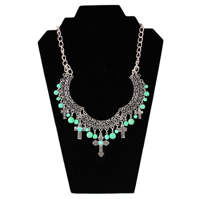 Jade Bead Bib Cross Necklace  -