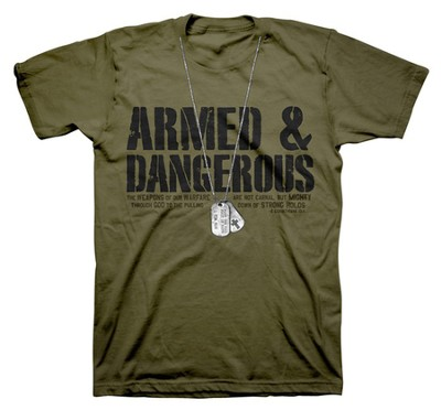 Dogtags, Armed & Dangerous Shirt, Green, 3X Large  -