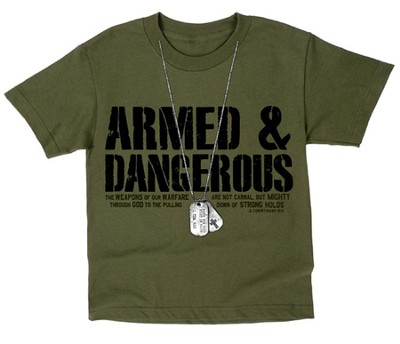 Dogtags, Armed & Dangerous Shirt, Green, Youth Large  -