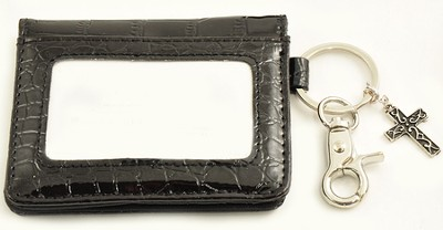 Wallet, Keychain, Cross, Crocodile, Black  -