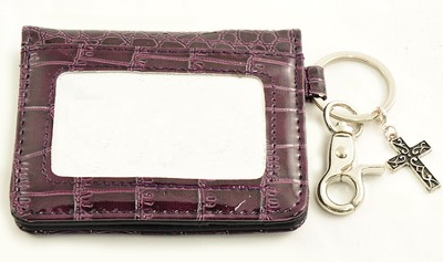 Wallet, Keychain, Cross, Crocodile, Purple  -