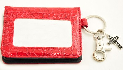 Wallet, Keychain, Cross, Crocodile, Red  -
