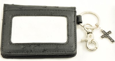 Wallet, Keychain, Cross, Ostrich, Black  -