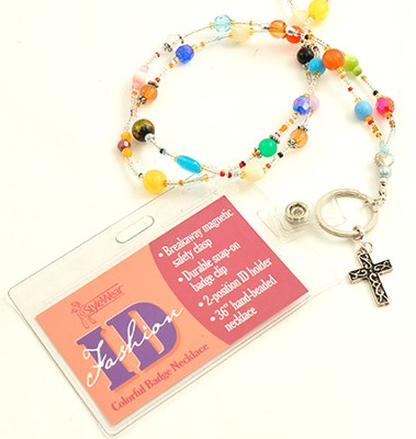 Beaded Badge Holder with Cross, Multi  -