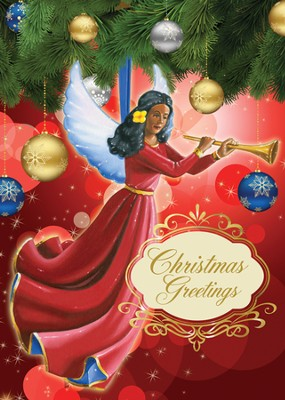 Angel Ornament Christmas Cards, African American , 15 Cards  -