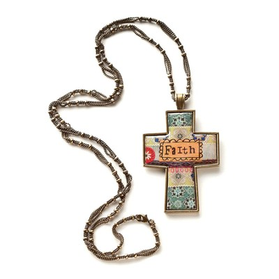 Faith Cross Necklace, Large  -     By: Kelly Rae Roberts