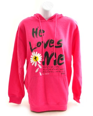 He Loves Me Hoodie, Pink, Medium  -