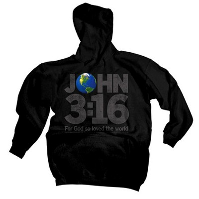 John 3:16 World Hoodie, Black, Medium  -