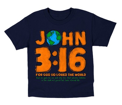 John 3:16 World Shirt, Navy, Youth Large  -