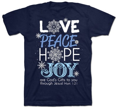 Love, Peace, Hope, Joy Shirt, Navy, Small  -