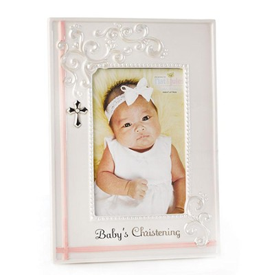 Baby's Christening Photo Frame, Pink  -
