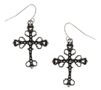 Filigree Burnish Silver Cross Earrings  -