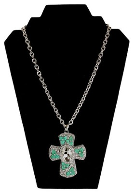 Large Turquoise and Crystal Flowers Cross Necklace, Silver  -