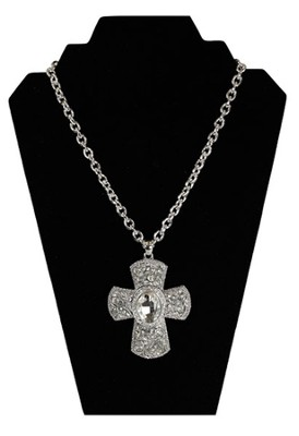 Large Crystal Flowers Cross Necklace, Silver  -