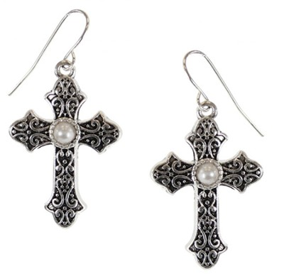 Antiqued Cross Earrings with Pearl Center, Silver  -