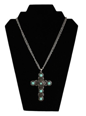 Double Strand Antiqued Cross Necklace with Turquoise Beads, Silver  -