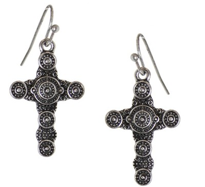 Textured circle Designs Cross Earrings, Silver  -