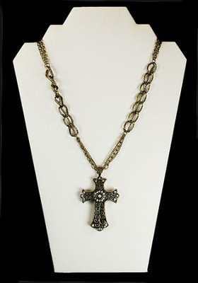 Filigree Cross Necklace with Crystal Stones, Gold  -