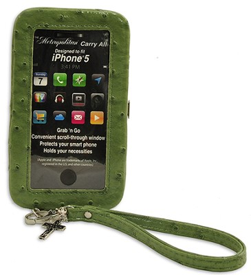 iPhone 5 Wristlet With Cross, Green Ostrich  -