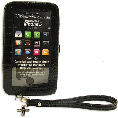 iPhone 5 Wristlet With Cross, Black Croc  -