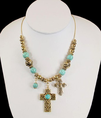 Antique Goldtone Cross Charm Necklace with Turquoise  -