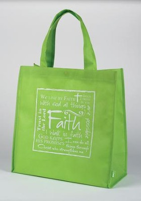 Faith Tote Bag, Green  -     By: Miriam Hahn