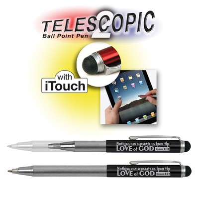 Telescopic Pen with Touch Screen Stylus, Black  -
