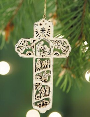 Nativity Cross Ornament, White   -