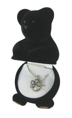 Black Bear Necklace with Cross Charm  -