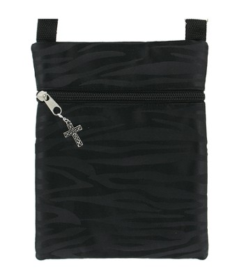 Crossbody Purse, with Cross Charm, Black   -