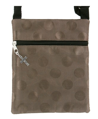 Crossbody Purse, with Cross Charm, Brown   -