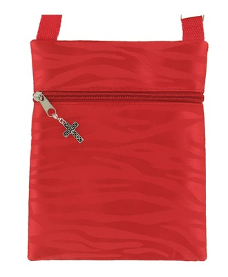 Crossbody Purse, with Cross Charm, Red   -