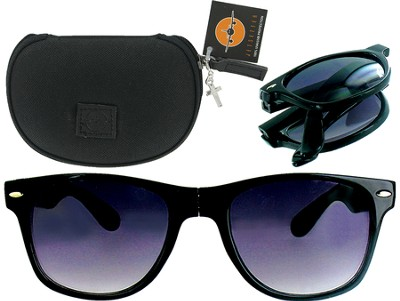 Sunglasses in Case with Cross, Black  -