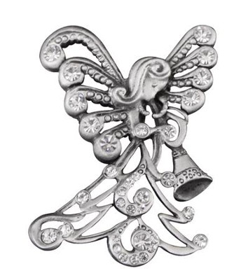 Trumpeting Angel, Pave Christmas Pin   -