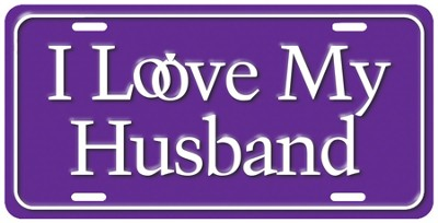 Love My Husband License Plate  -