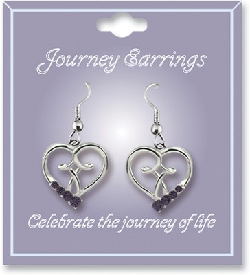 Journey Birthstone Earrings, February  -