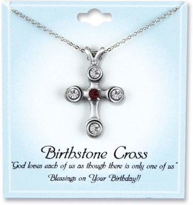 Cross Birthstone Pendant, January  -