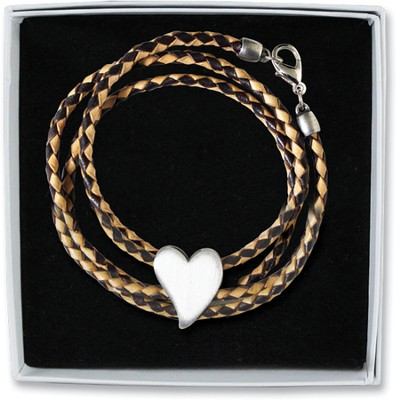 Wrap Bracelet with Heart Charm  -