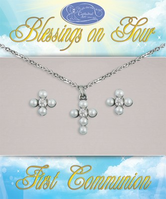 First Communion Earrings and Pendant Set  -