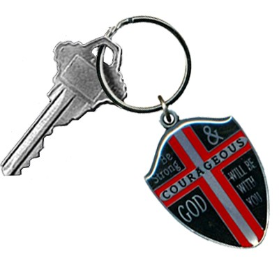 Be Strong and Courageous Shield Key Ring  -